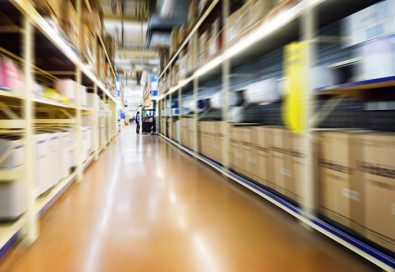 Warehouse interior image with shelves and motion blur